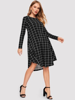 Grid Print Curved Hem Dress