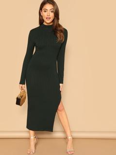 Mock-Neck Ribbed Knit Solid Dress