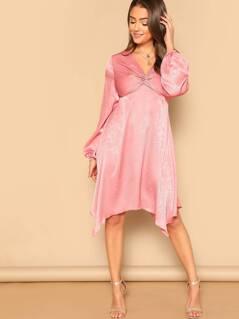 Twist Front V-Neck Dress