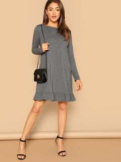 Ruffle Hem Heather Grey Dress