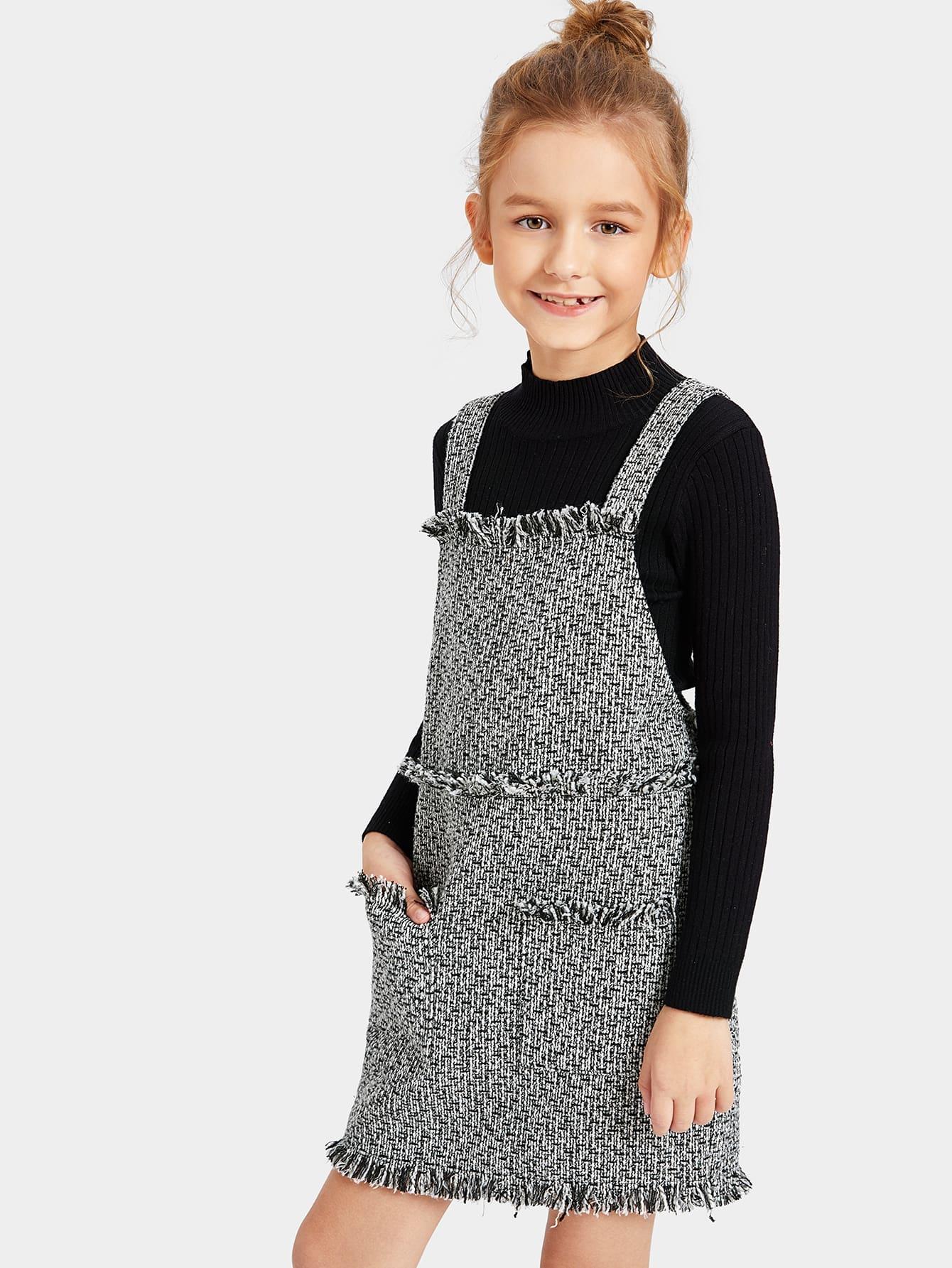 Купить Женское твидовое рваное платье, Sashab, SheIn