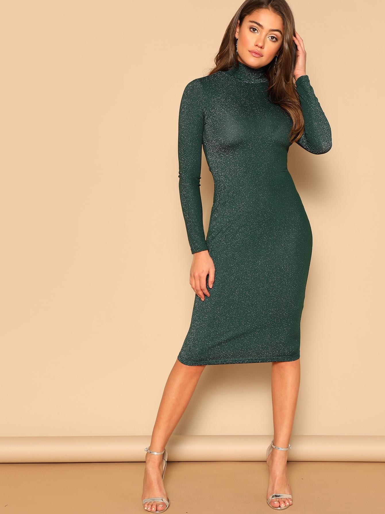 Купить Блестящое стильное платье с высоким воротником, Clara Wilsey, SheIn