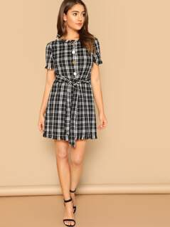 Frayed Edge Button Front Belted Tweed Dress