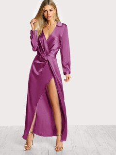 Satin Front Twist Wrap Dress