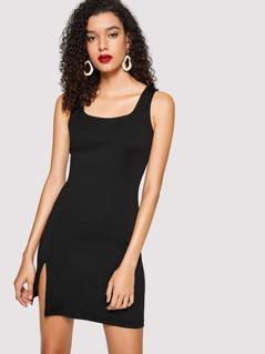 High Slit Sleeveless Solid Dress