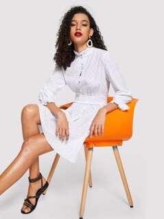 Frilled Neckline Half Placket Shirred Waist Dress