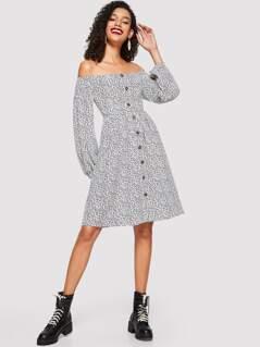 Button Up Off Shoulder Floral Dress