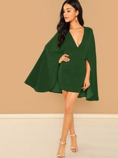 Surplice Neck Cape Sleeve Dress