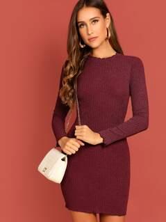 Lettuce Trim Rib-knit Bodycon Dress