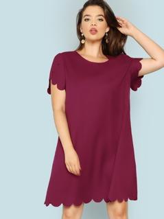 Plus Scallop Trim Solid Swing Dress