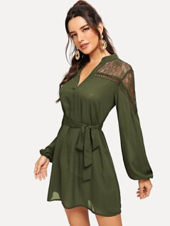 Lace Shoulder Belted Shirt Dress