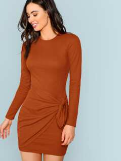 Knot Side Solid Bodycon Dress