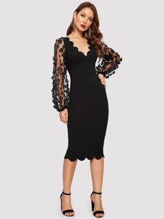 3D Applique Mesh Sleeve Scallop Edge Dress