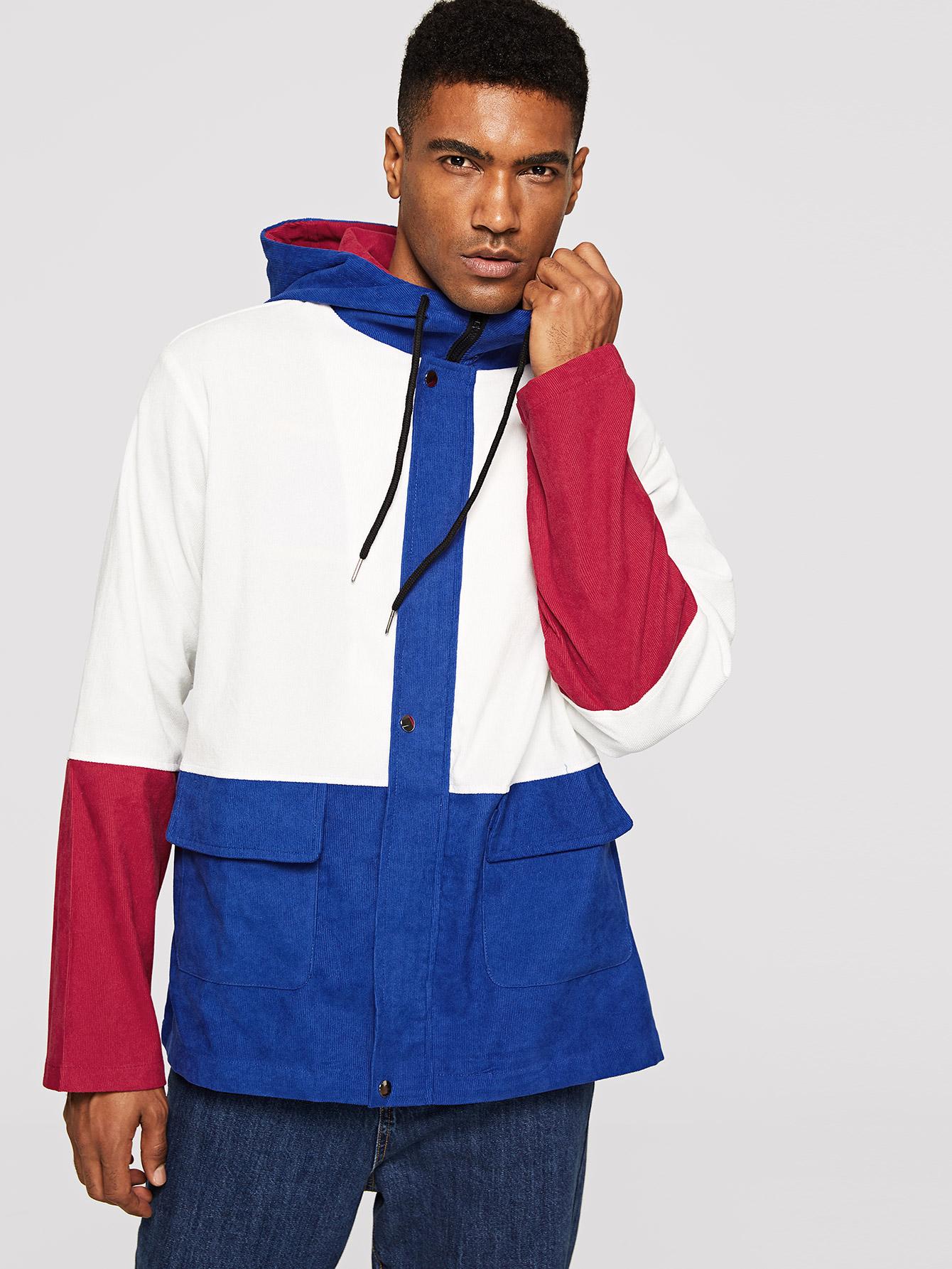 Купить Мужская куртка с карманом и контрастным вельветовым капюшоном, Johnn Silva, SheIn