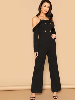 Cold Shoulder Foldover Front Double Breasted Jumpsuit
