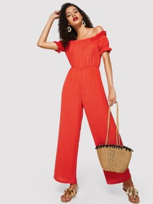 Off Shoulder Ruffle Detail Palazzo Jumpsuit