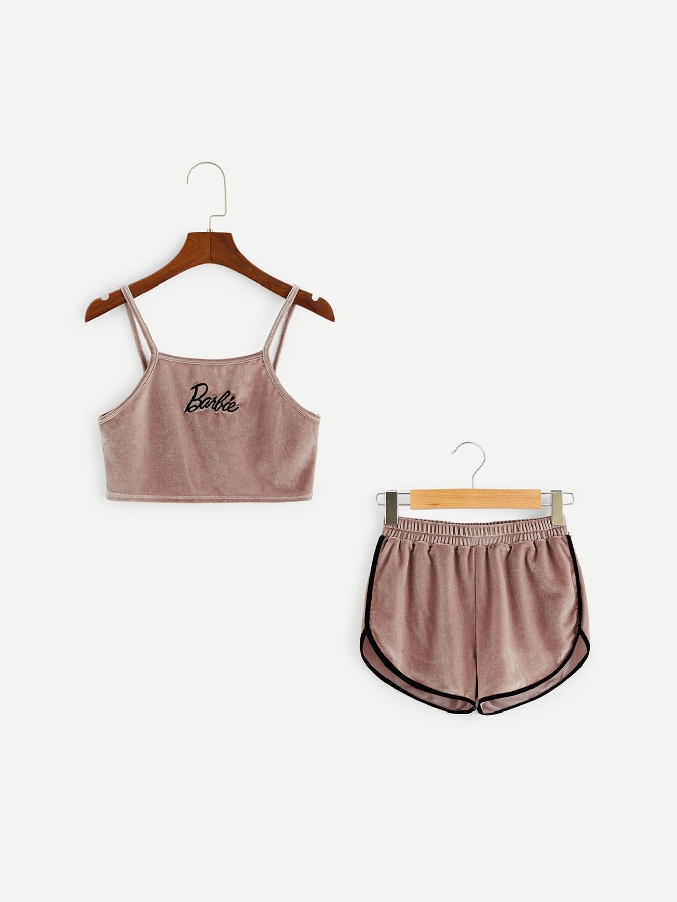 Женский короткий бархатный топ с вышивкой и шорты комплект от SheIn