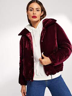 Drawstring Hem Button Up Velvet Puffer Coat