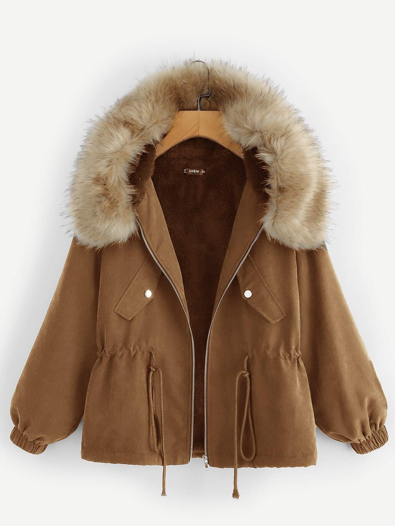 Пальто с кулиской и искусственным мехом SheIn