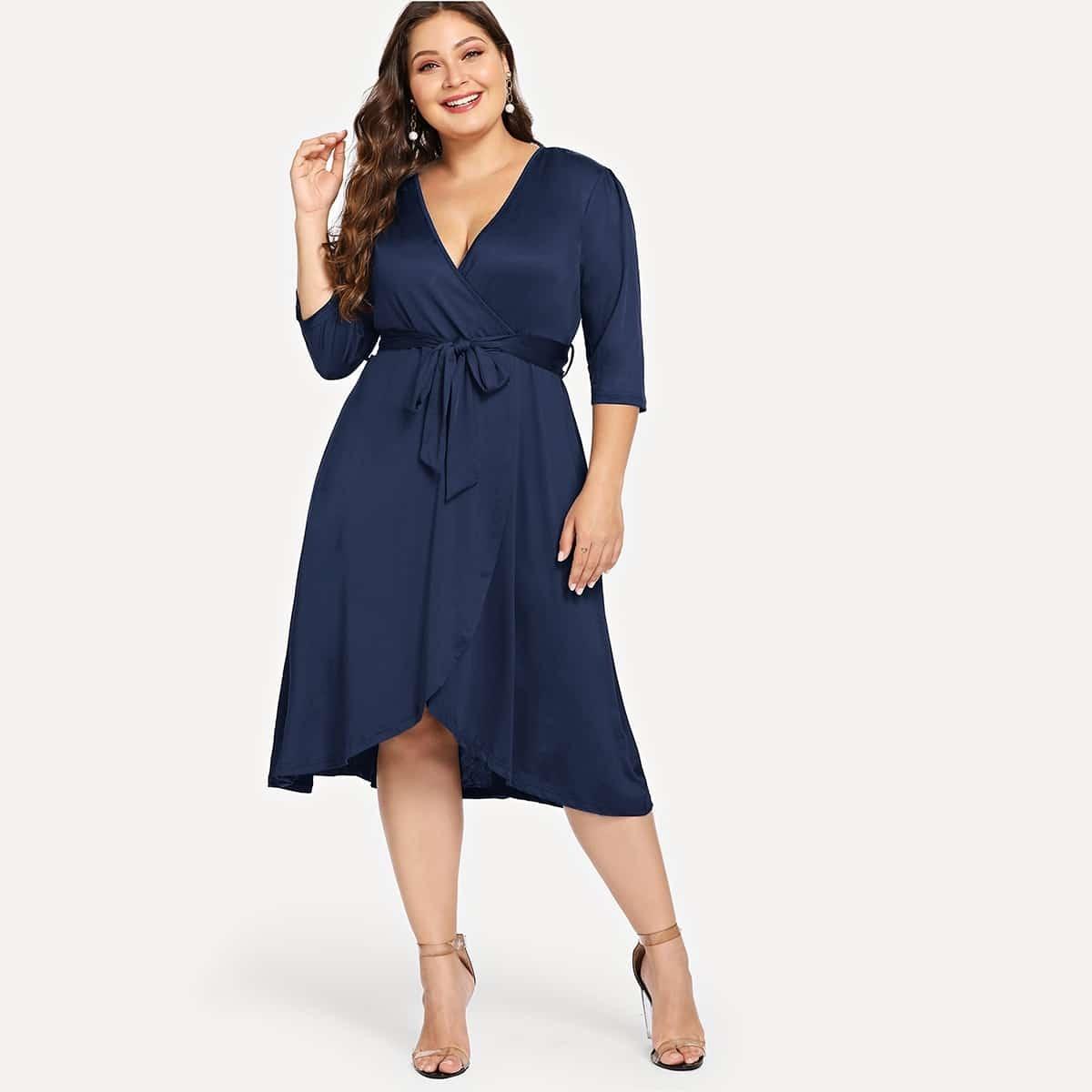 Blauw Casual Vlak Grote maten jurken Riem