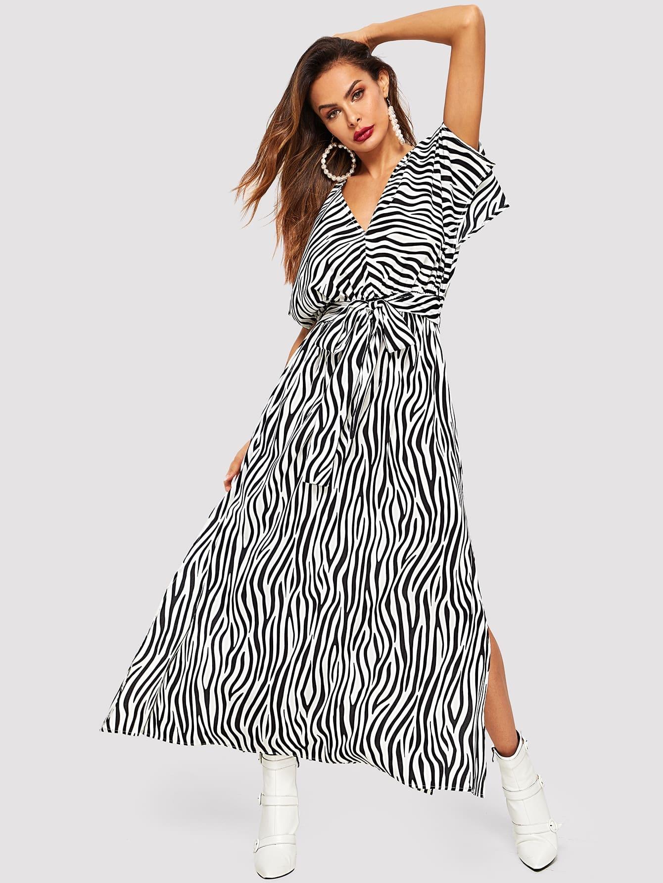 Купить Разрезное платье с принтом зебры, Andy, SheIn