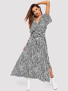 Tied Waist Zebra Pattern Slit Hem Dress