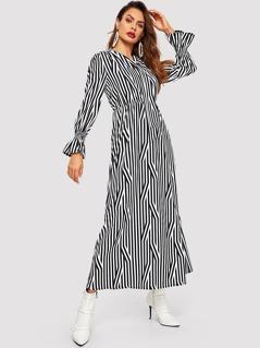 Tie Neck Bell Cuff Mixed Stripe Dress
