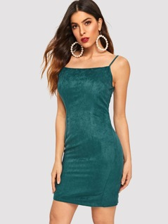 Exposed Zip Back Suede Cami Dress
