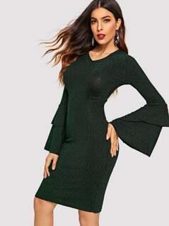 Flounce Sleeve Rib-knit Glitter Pencil Dress