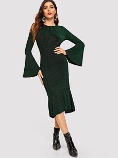 Flounce Sleeve Pephem Glitter Rib-knit Midi Dress