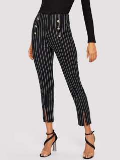 Double Breasted Slit Hem Striped Pants