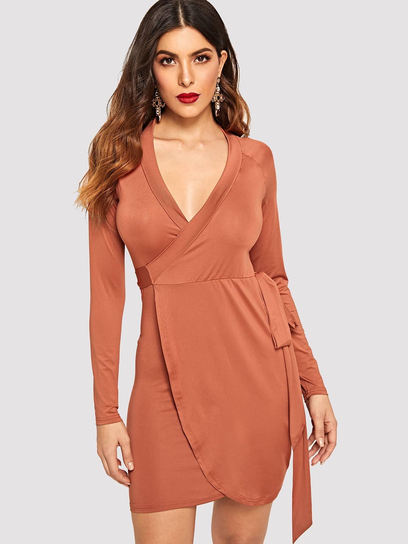 Купить Платье с глубоким вырезом и узлом, DANI A, SheIn