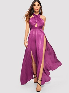 Criss-cross Neck Fit & Flare Slit Maxi Dress