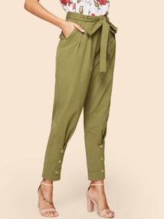 Button Detail Self Belted Pants