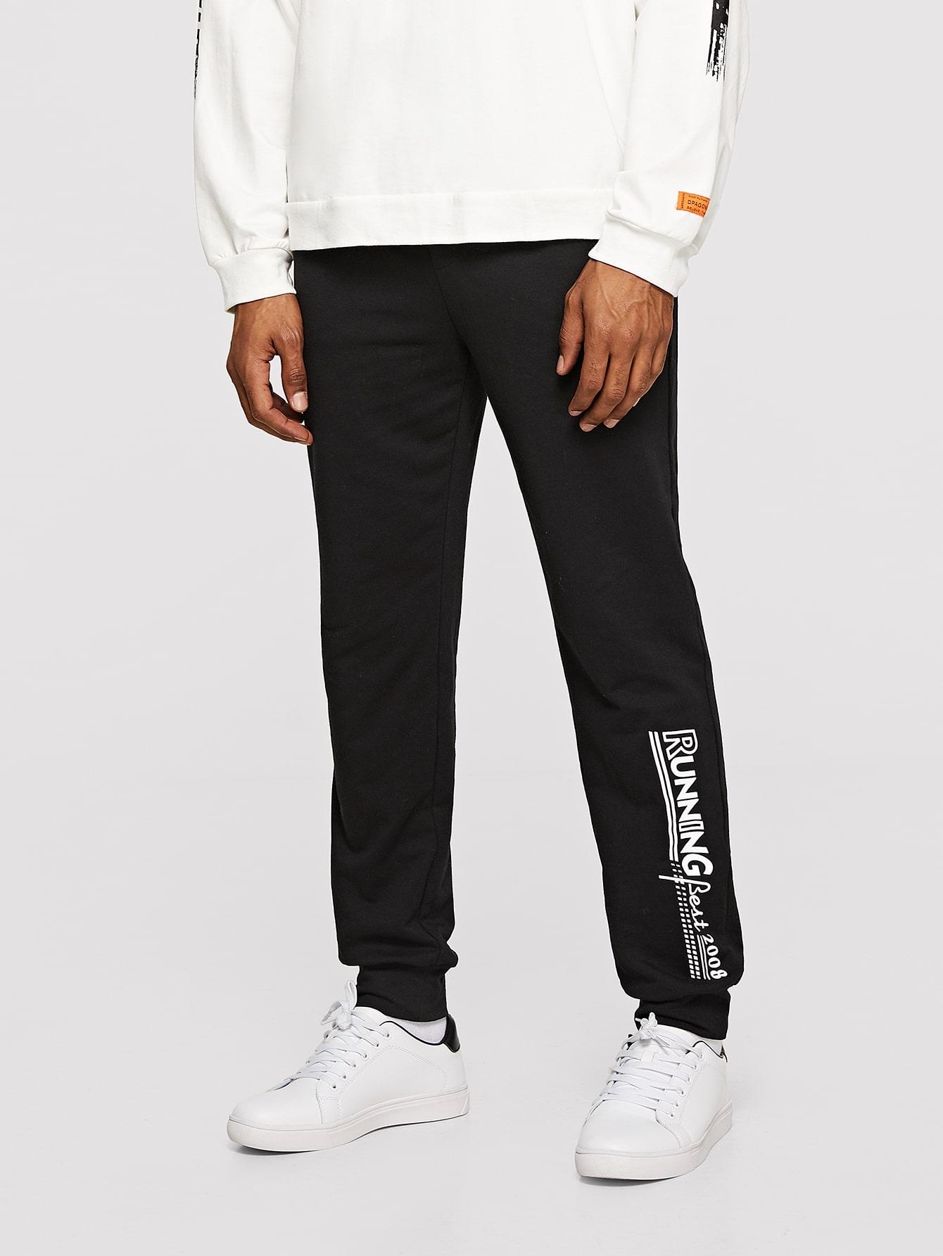Купить Мужские спортивные брюки с текстовым принтом, Johnn Silva, SheIn