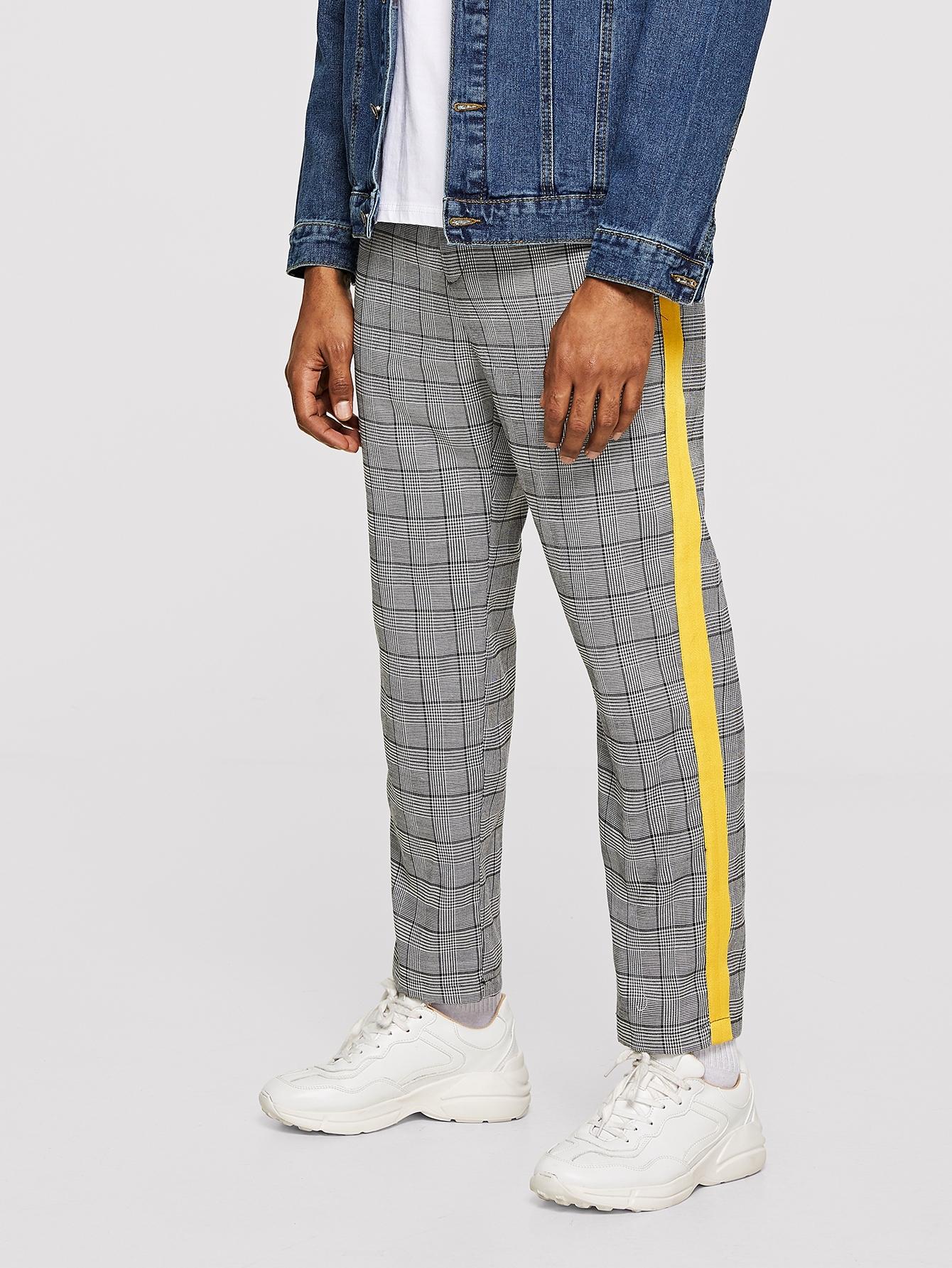 Купить Мужские брюки с контрастной отделкой в клетку, Johnn Silva, SheIn