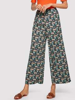 Mixed Print Elastic Waist Wide Leg Pants