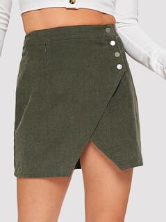 Button Front Wrap Cord Skirt