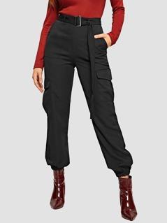 Adjustable Belted Flap Pocket Tapered Utility Pants