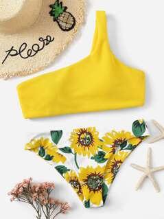 Random One Shoulder Sunflower Bikini Set