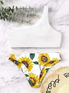 Random One Shoulder Sunflower Bikini Set
