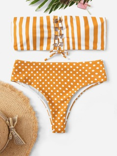 Random Lace-up Striped and Polka Dot Bikini Set