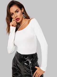 Strappy Off Shoulder Form Fitted Tee