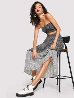 Ruffle Hem Allover Print Maxi Skirt