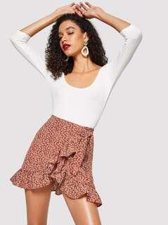 Asymmetrical Ruffle Hem Floral Skirt