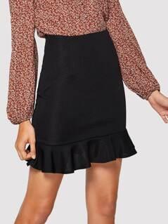 Zip Detail Ruffle Hem Bodycon Skirt