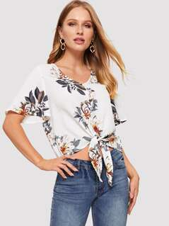 Knot Front Button Flower Print Top