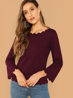 Bell Sleeve Scallop Trim Solid Top