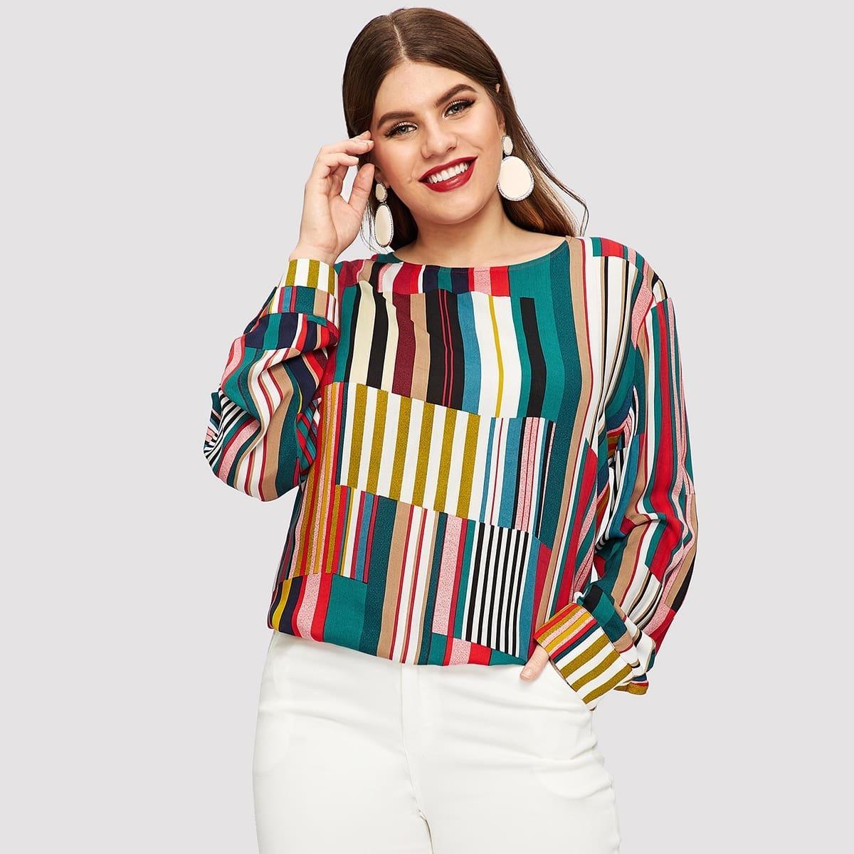 Veel kleurig Casual Lapwerk Grote maten blouses Knoop