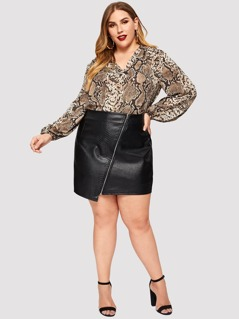 Plus Snake Print V Neck Blouse
